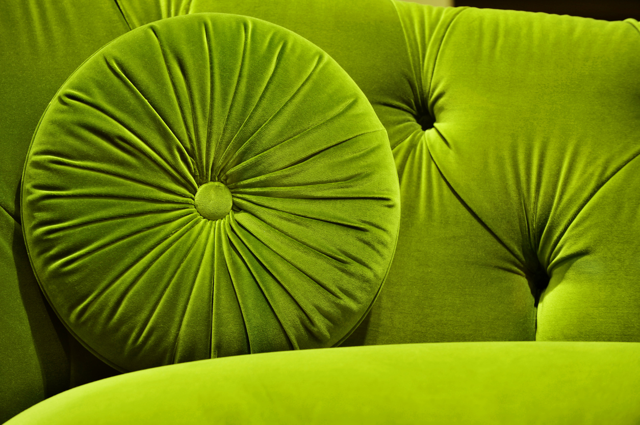 Green Velvet Couch with Pillow